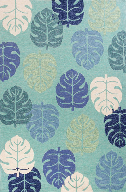 Turquoise and Blue Palms Indoor-Outdoor Area Rug