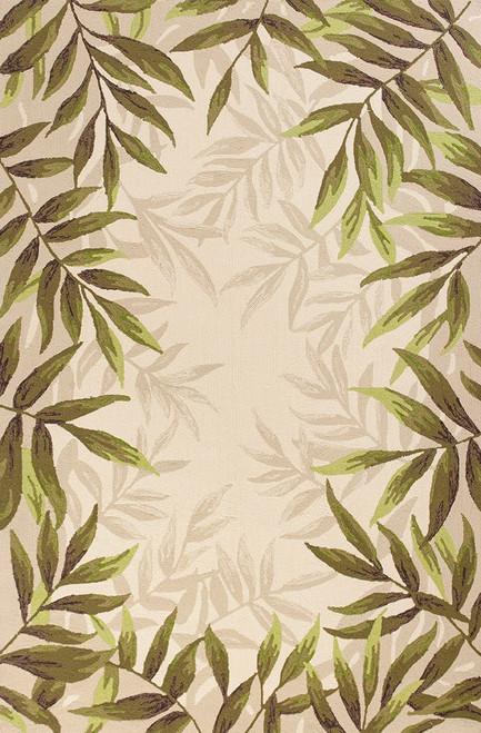Greenery Palm Bordered Indoor-Outdoor Area Rug