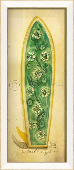 Green Tropical Surfboard Art - White Frame