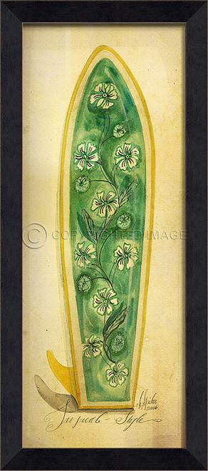 Green Tropical Surfboard Art - Black Frame