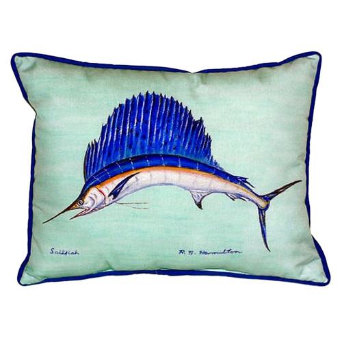 Teal Blue Sailfish Coastal Throw Pillow