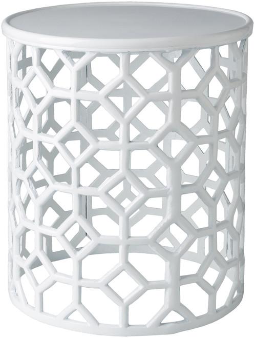 Hale Aluminum Lattice Accent Table in White