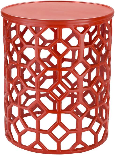 Hale Aluminum Lattice Accent Table in Coral Red