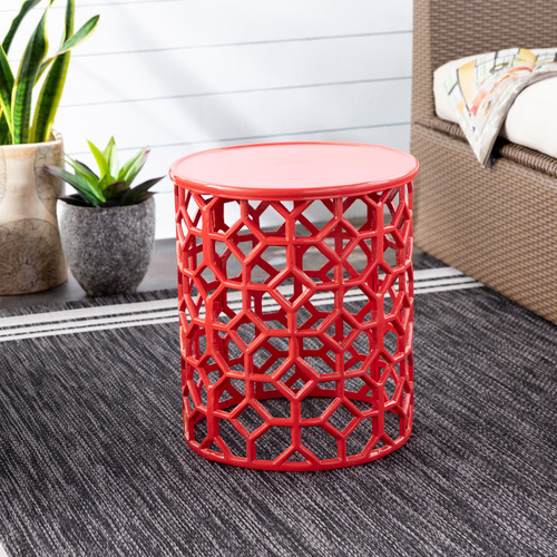 Hale Aluminum Lattice Accent Table in Coral Red room view