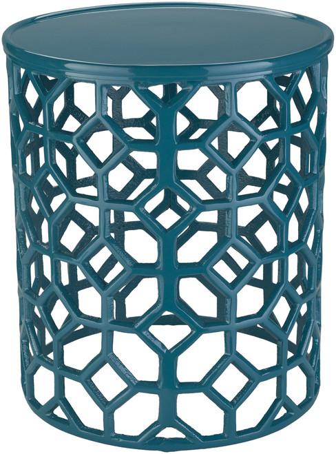 Hale Aluminum Lattice Accent Table in Teal Green
