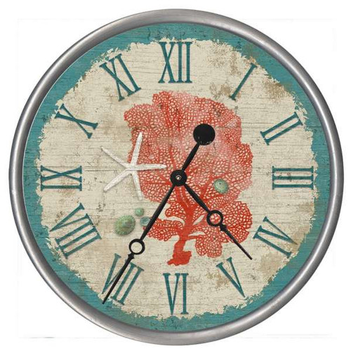 Red and Teal Sea Fan Clock - Custom