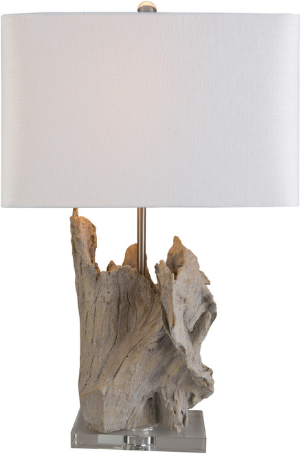 Darby Driftwood Table Lamp - lamp lit