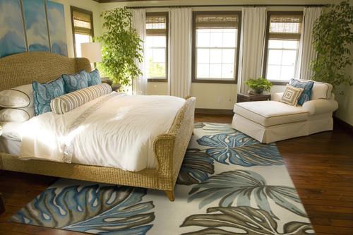 Ivory Florea Tropical Wool Area Rug bedroom image