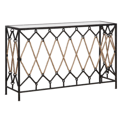 Darya Nautical Console Table with Rope angle view
