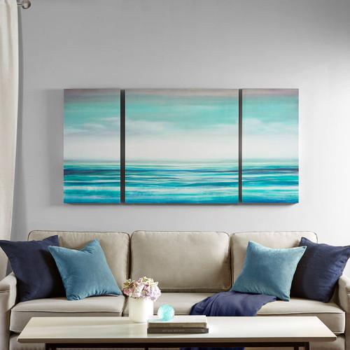 Teal Tides Gel Coat Canvas - 3 part Wall Decor room image