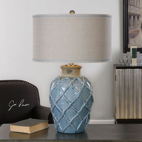 Parterre Pale Blue Table Lamp room view 1