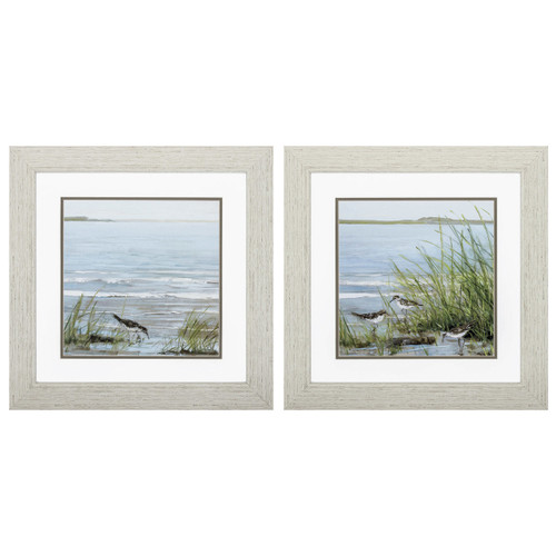 Afternoon at the Shore Framed Prints - Set of Two