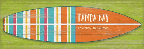 Bright Striped Surfboard Latitude Custom Sign