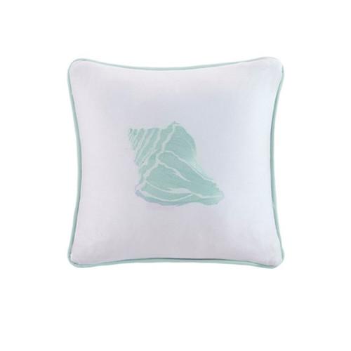 Aqua Blue Coastline Embroidered Shell Pillow