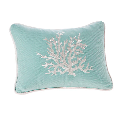 Coastline Embroidered Coral Pillow