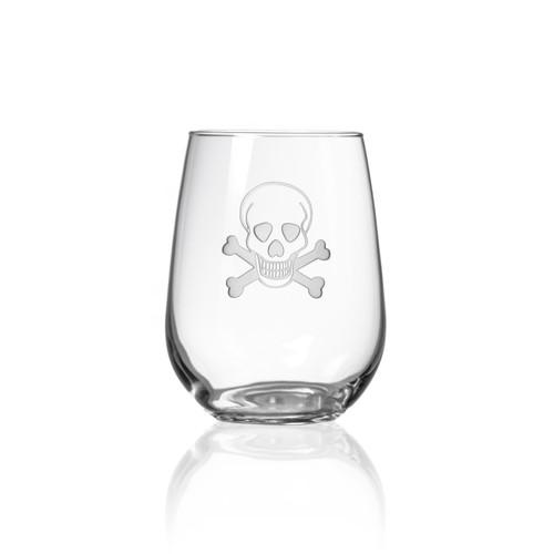 Skull and Cross Bones Stemless Wine Glasses-Single image