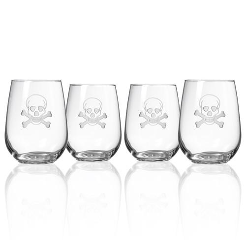 Skull and Cross Bones Stemless Wine Glasses-Set of 4