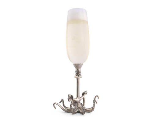 Octopus Pewter Stemmed Flute with champagne