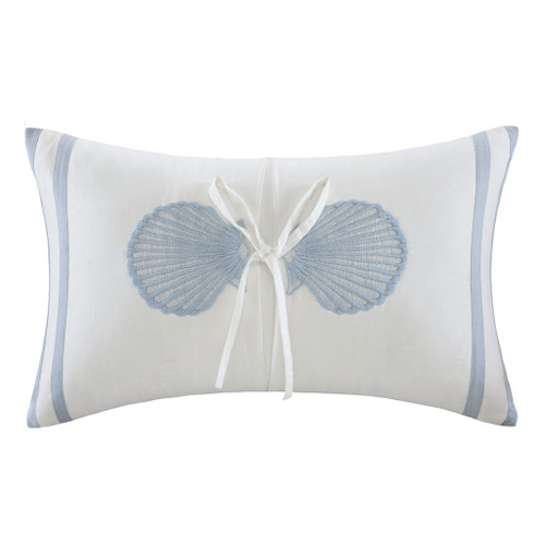 Crystal Beach Embroidered Seashell Pillow