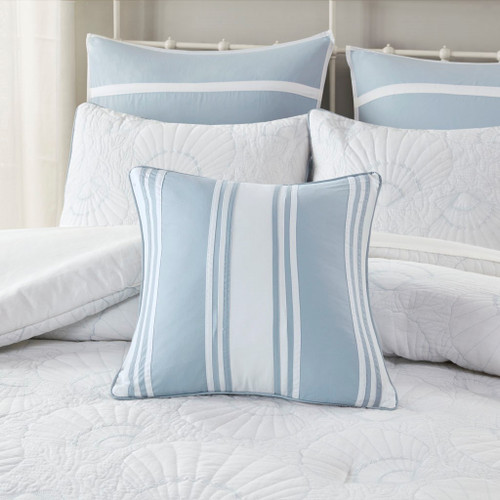 Crystal Beach Striped Accent Pillow with bedding