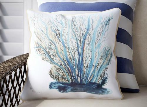 Blue Coral Throw Pillow