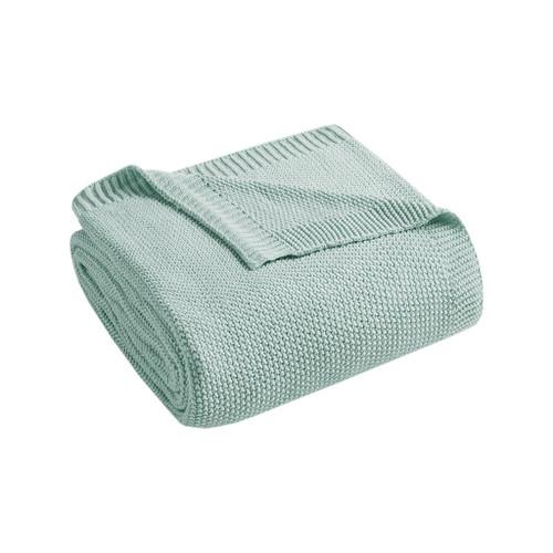 Aqua Blue Bree Knit Throw folded