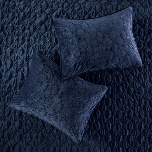 Harper Navy Blue Velvet King Size Coverlet Set details 2