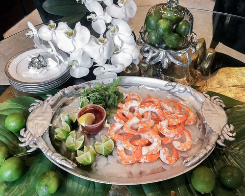 Large Polished Crab Oval Platter dining table view