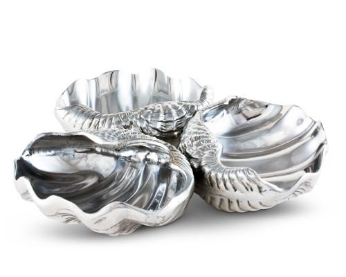 Polished Clam Server - 3 bowls