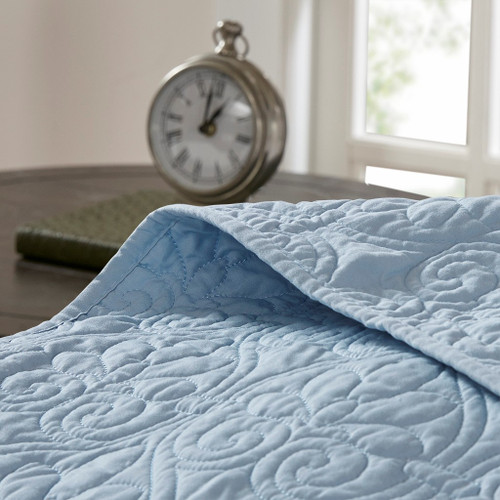 Hudson Bay Blue Quilted King Size Coverlet Set quilt close up