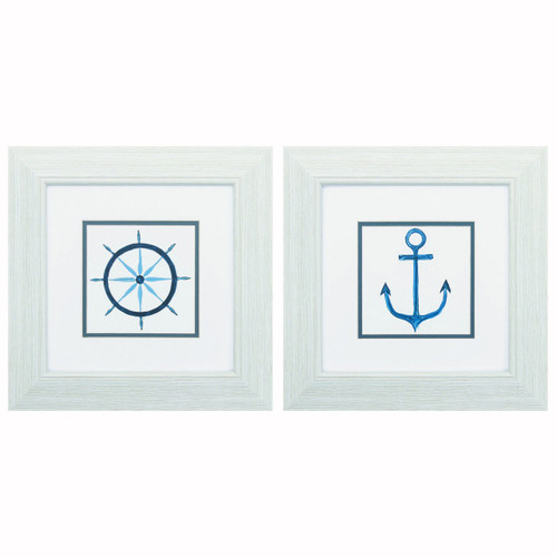 Blue Ships Wheel and Anchor Framed Prints