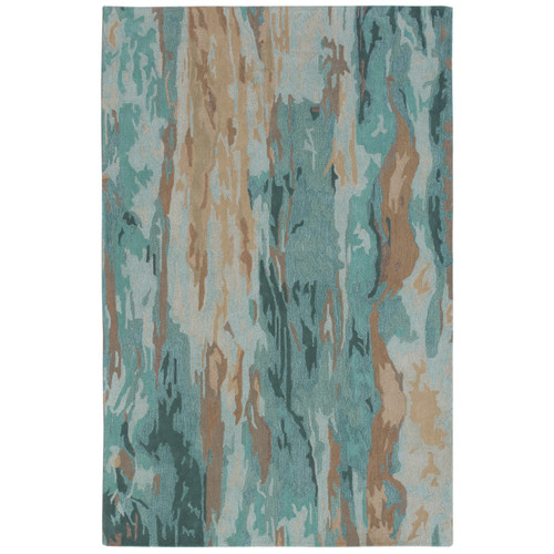 Teal Waterfall Hand-Tufted Wool Rug