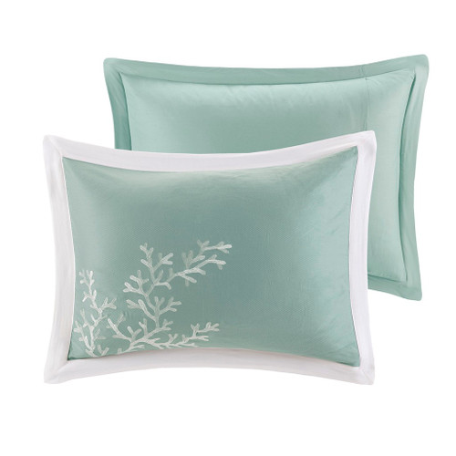 Aqua Blue Coastline Comforter Collection - Full Size shams