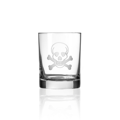 Skull and Cross Bones Double Old Fashioned Glasses - Single image