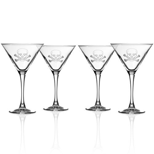 Skull and Cross Bones Martini Glasses - Set of 4