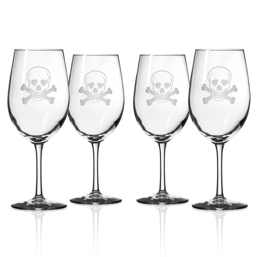Skull and Cross Bones Large Wine Goblets - Set of 4