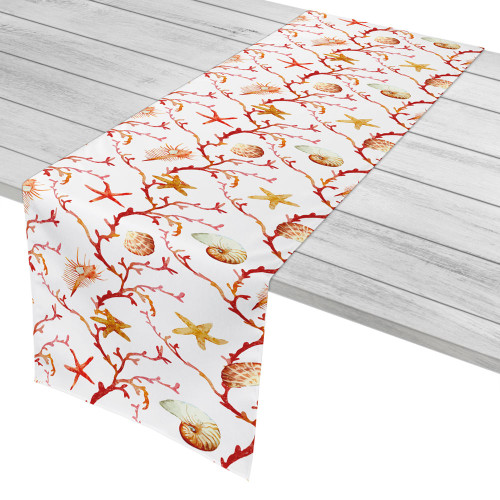 Coral and Seashell Lattice Table Runner