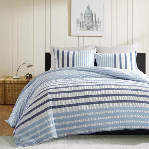 Sutton Blue Striped King Size Duvet Bedding view 2