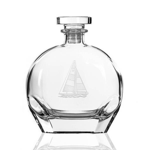 Sailboat Etched Whiskey Decanter and Rocks Glass Set - decanter