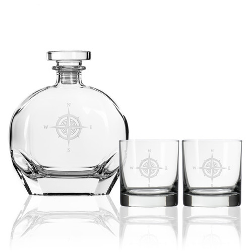Compass Rose Etched Whiskey Decanter and Rocks Glass Set