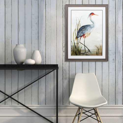 Shore Grey Heron Framed Art wall example