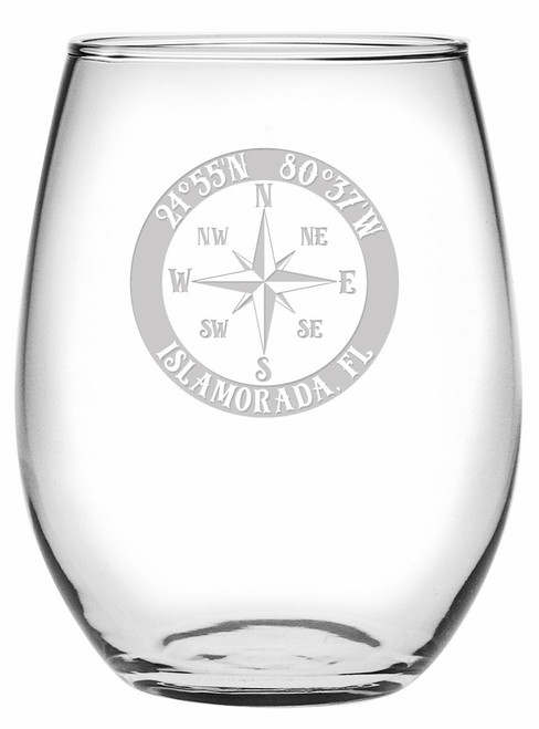 Custom Coordinates Compass Rose NSEW Stemless Wine Glasses Set of 4