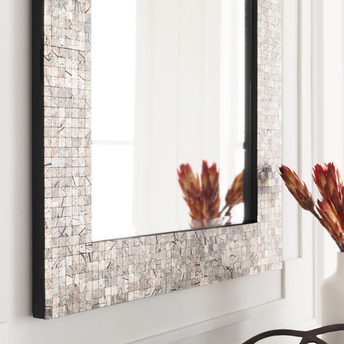Large Mother of Pearl Shell Framed Mirror detail wall pic