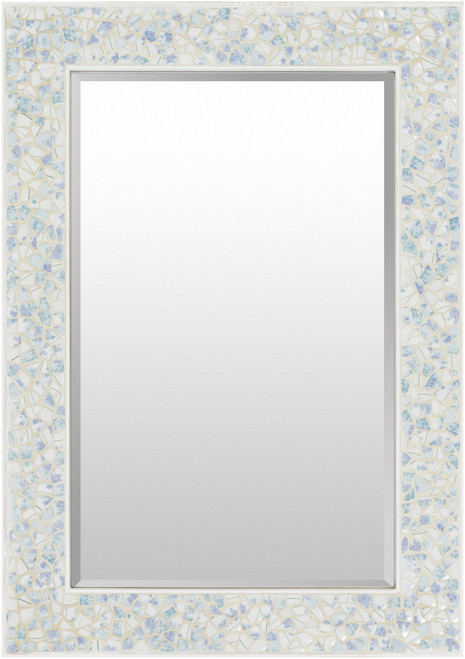 Large Inlaid Blue Sea Shell Framed Mirror