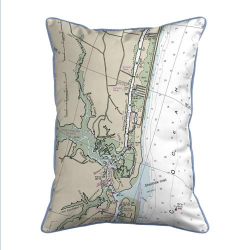 Holden Beach North Carolina Nautical Chart 24 x 20 Pillow