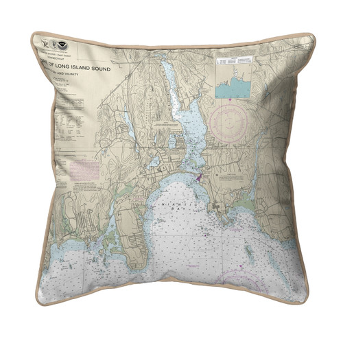 North Shore Long Island to Niantic Bay 22 x 22 Pillow - Tan Cording