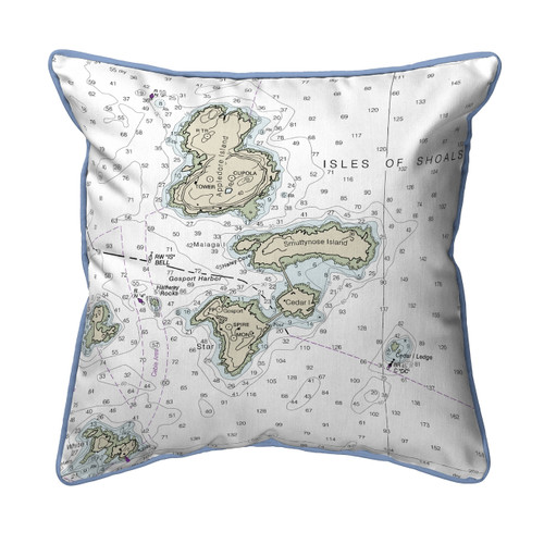 Isle of Shoals, Maine Nautical Chart 22 x 22 Pillow