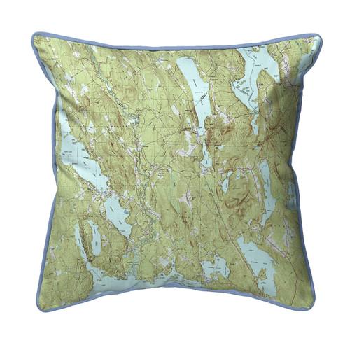 Casco and Sebago Lake, Maine  Nautical Chart 22 x 22 Pillow