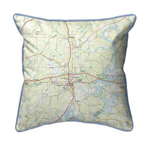 Logan Martin Lake, Alabama Nautical Chart 22 x 22 Pillow