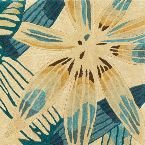 Island Teal and Ivory Luxury Wool Rug close up image
